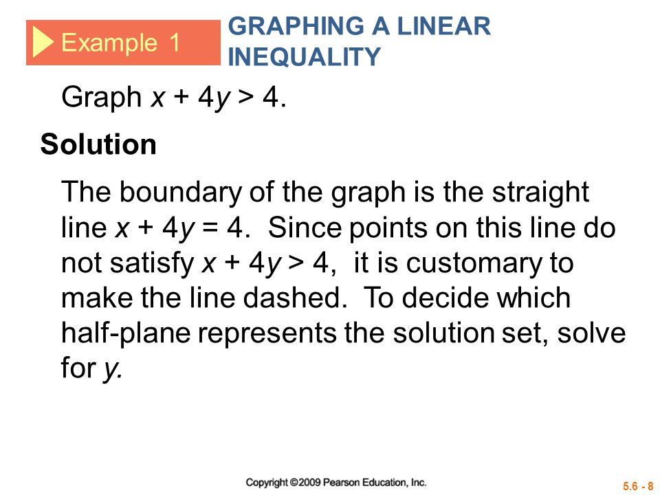 5.6 - 9 Example 1 GRAPHING A LINEAR INEQUALITY Subtract x.