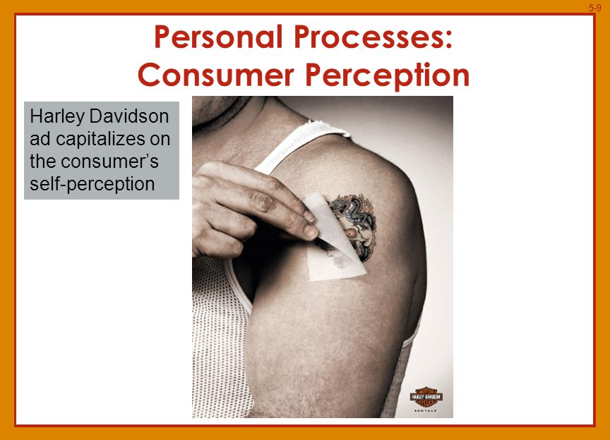 5-9 Personal Processes: Consumer Perception Harley Davidson ad capitalizes on the consumer's self-perception Insert photo 5.9, p.