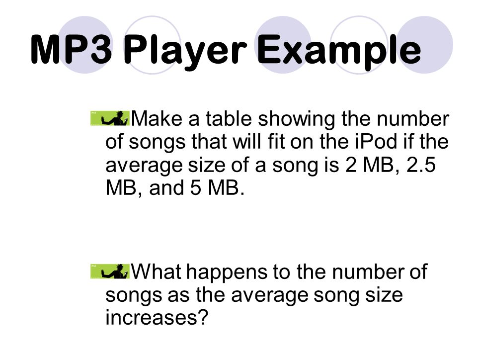 MP3 Player Example Make a table showing the number of songs that will fit on the iPod if the average size of a song is 2 MB, 2.5 MB, and 5 MB.