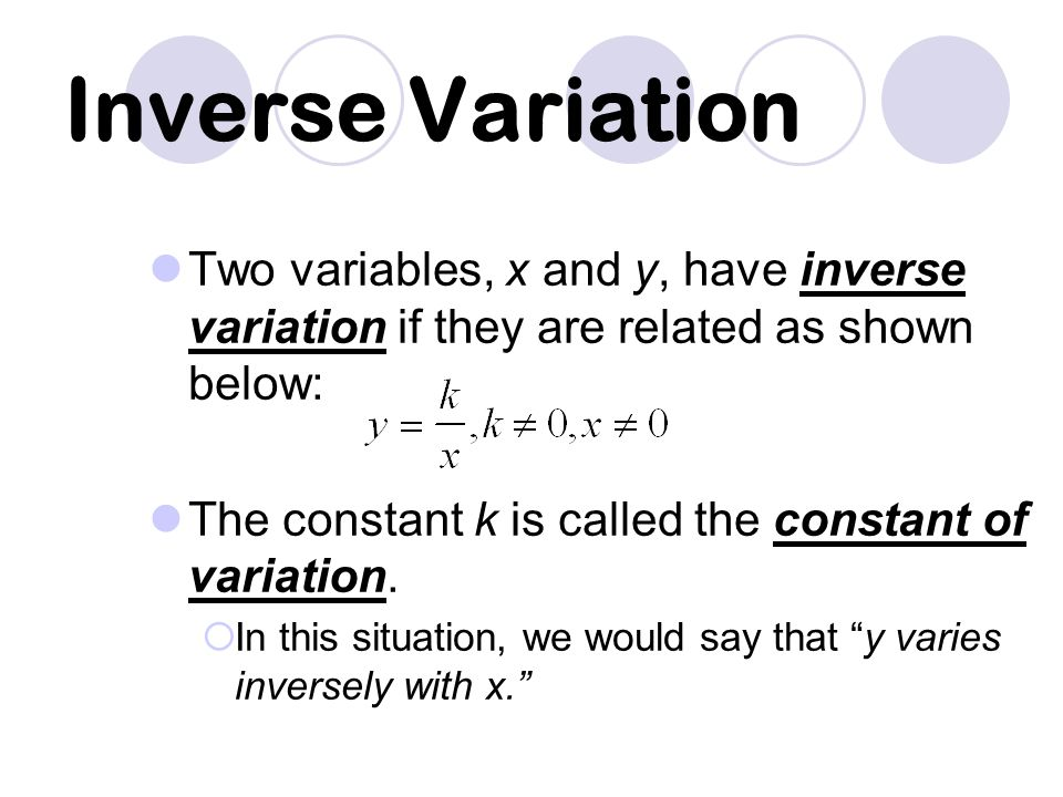 Example 8 Tell whether x and y show direct variation, inverse variation, or neither.