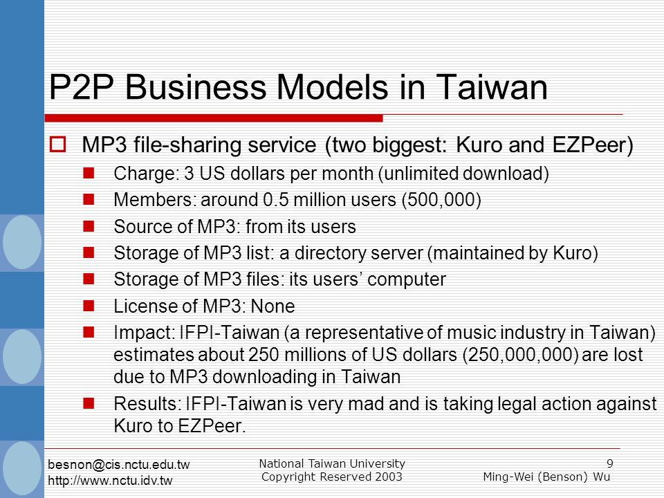 National Taiwan University Copyright Reserved 2003 9 Ming-Wei (Benson) Wu besnon@cis.nctu.edu.tw http://www.nctu.idv.tw P2P Business Models in Taiwan  MP3 file-sharing service (two biggest: Kuro and EZPeer) Charge: 3 US dollars per month (unlimited download) Members: around 0.5 million users (500,000) Source of MP3: from its users Storage of MP3 list: a directory server (maintained by Kuro) Storage of MP3 files: its users' computer License of MP3: None Impact: IFPI-Taiwan (a representative of music industry in Taiwan) estimates about 250 millions of US dollars (250,000,000) are lost due to MP3 downloading in Taiwan Results: IFPI-Taiwan is very mad and is taking legal action against Kuro to EZPeer.