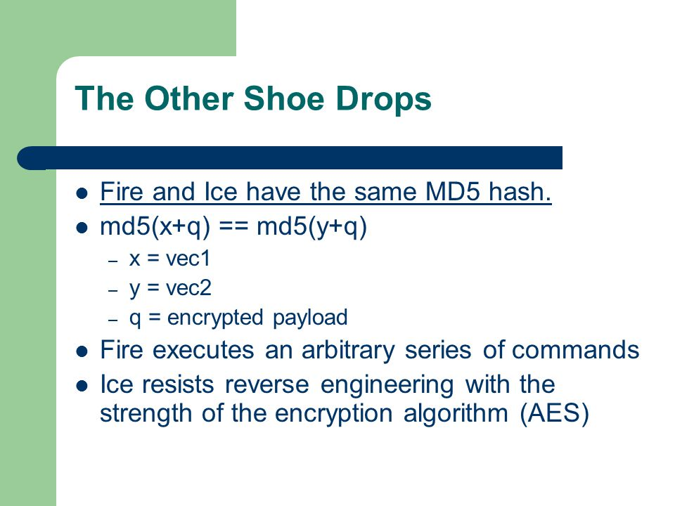 The Other Shoe Drops Fire and Ice have the same MD5 hash.