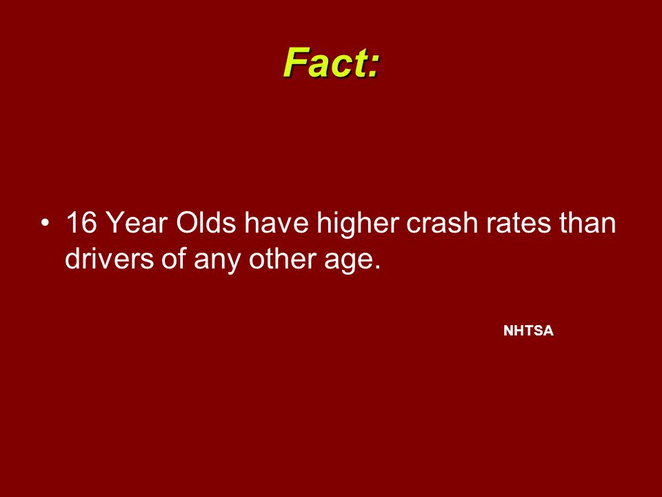 Fact: 16 Year Olds have higher crash rates than drivers of any other age. NHTSA