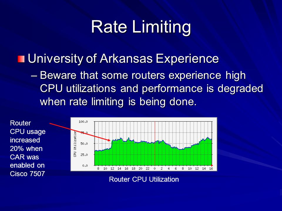 Rate Limiting University of Arkansas Experience –Beware that some routers experience high CPU utilizations and performance is degraded when rate limit