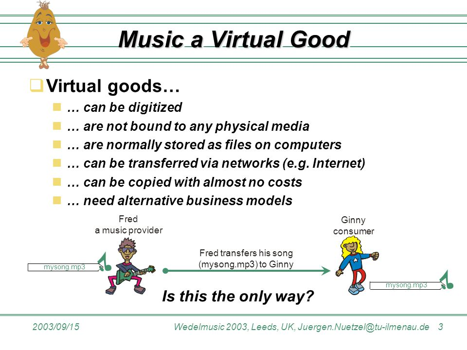 2003/09/15Wedelmusic 2003, Leeds, UK, Juergen.Nuetzel@tu-ilmenau.de 3 Music a Virtual Good Fred transfers his song (mysong.mp3) to Ginny Ginny consume