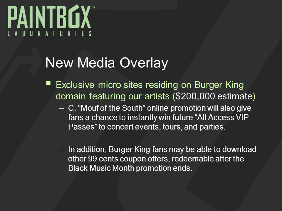 New Media Overlay  Exclusive micro sites residing on Burger King domain featuring our artists ($200,000 estimate) –C.