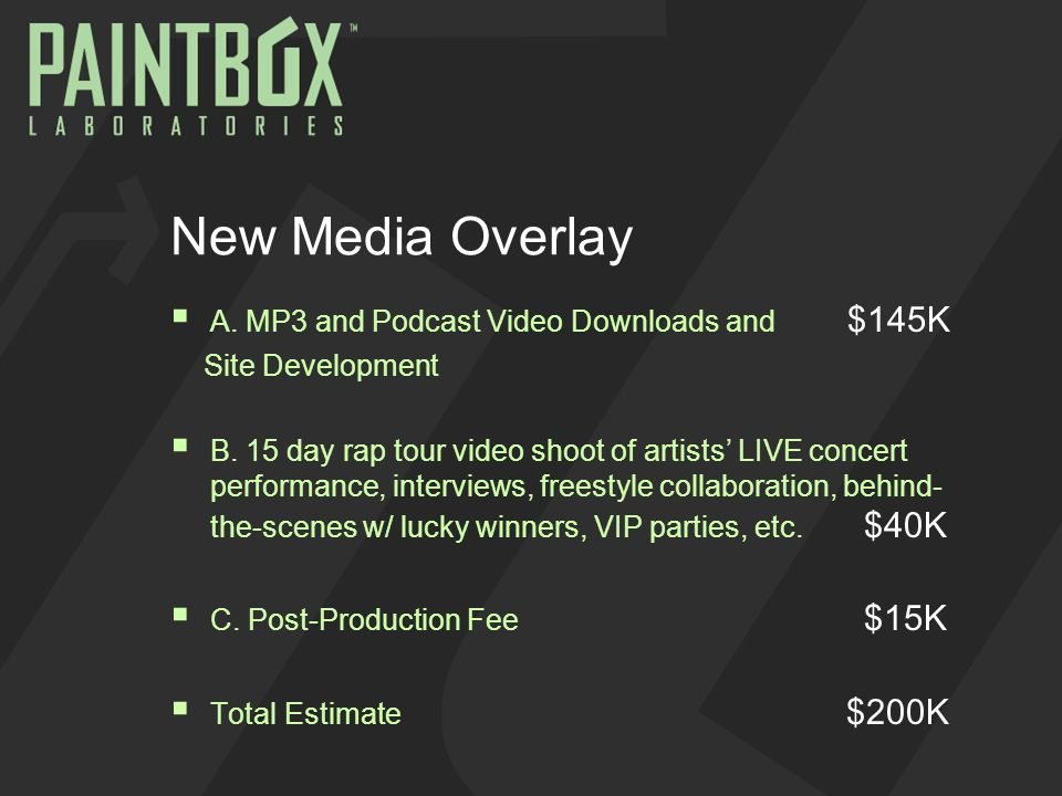 New Media Overlay  A. MP3 and Podcast Video Downloads and $145K Site Development  B. 15 day rap tour video shoot of artists' LIVE concert performanc
