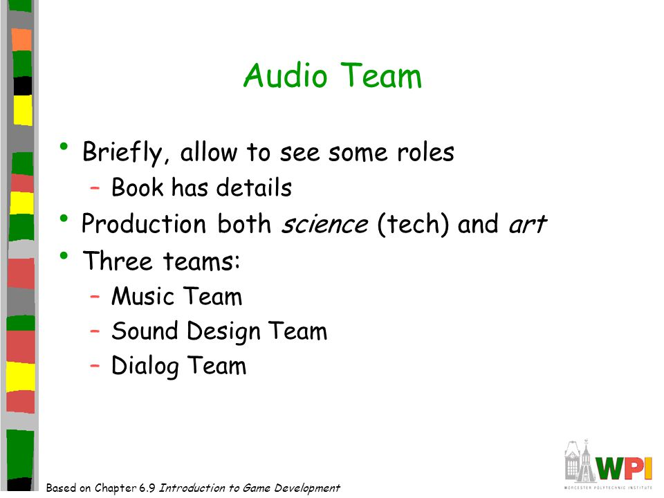 Outline Introduction(done) Audio Teams(done) Computer Audio Technology(done) Sound Design(next) Music Guidelines