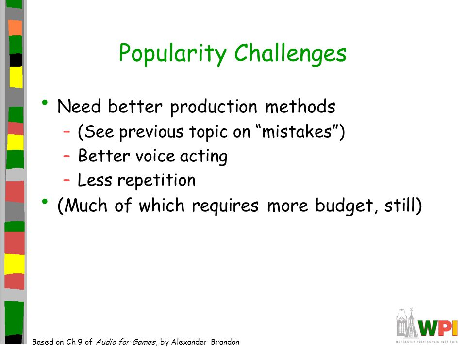 Popularity Challenges Need better production methods –(See previous topic on mistakes ) –Better voice acting –Less repetition (Much of which requires more budget, still) Based on Ch 9 of Audio for Games, by Alexander Brandon