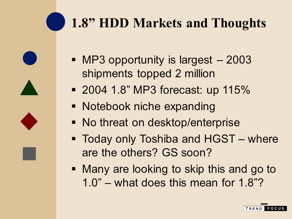 1.8 HDD Markets and Thoughts  MP3 opportunity is largest – 2003 shipments topped 2 million  2004 1.8 MP3 forecast: up 115%  Notebook niche expanding  No threat on desktop/enterprise  Today only Toshiba and HGST – where are the others.