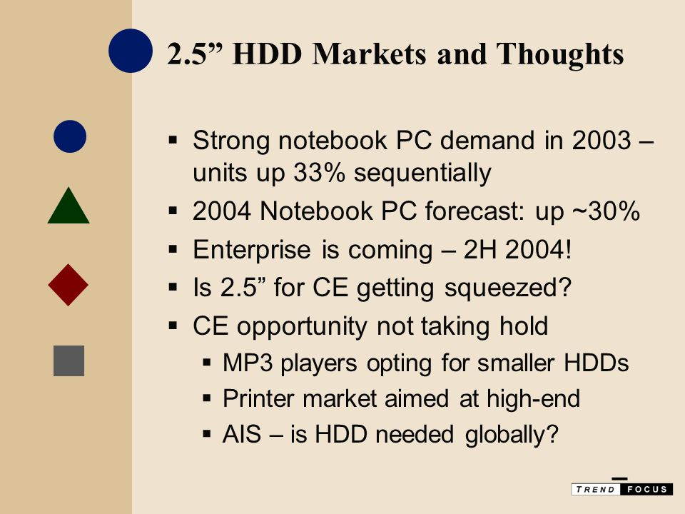 2.5 HDD Markets and Thoughts  Strong notebook PC demand in 2003 – units up 33% sequentially  2004 Notebook PC forecast: up ~30%  Enterprise is coming – 2H 2004.