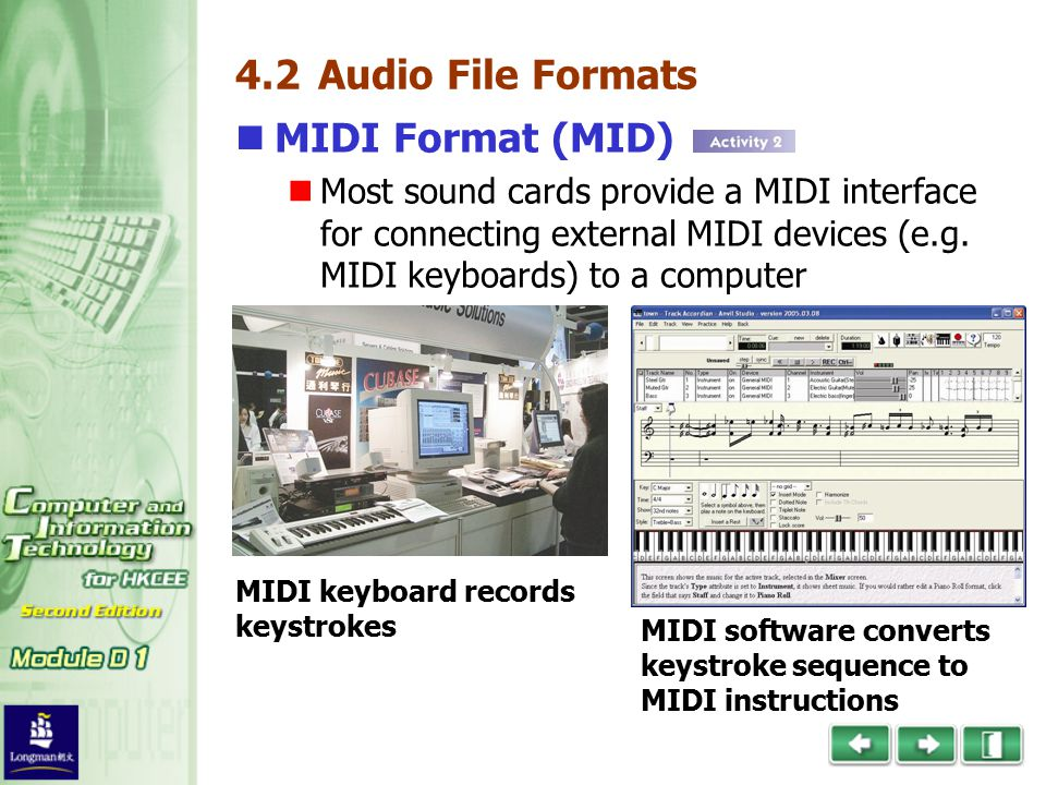 4.2 Audio File Formats MIDI Format (MID) Most sound cards provide a MIDI interface for connecting external MIDI devices (e.g.