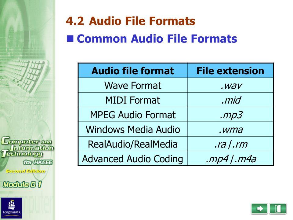 4.2 Audio File Formats Common Audio File Formats Audio file formatFile extension Wave Format.wav MIDI Format.mid MPEG Audio Format.mp3 Windows Media Audio.wma RealAudio/RealMedia.ra /.rm Advanced Audio Coding.mp4 /.m4a