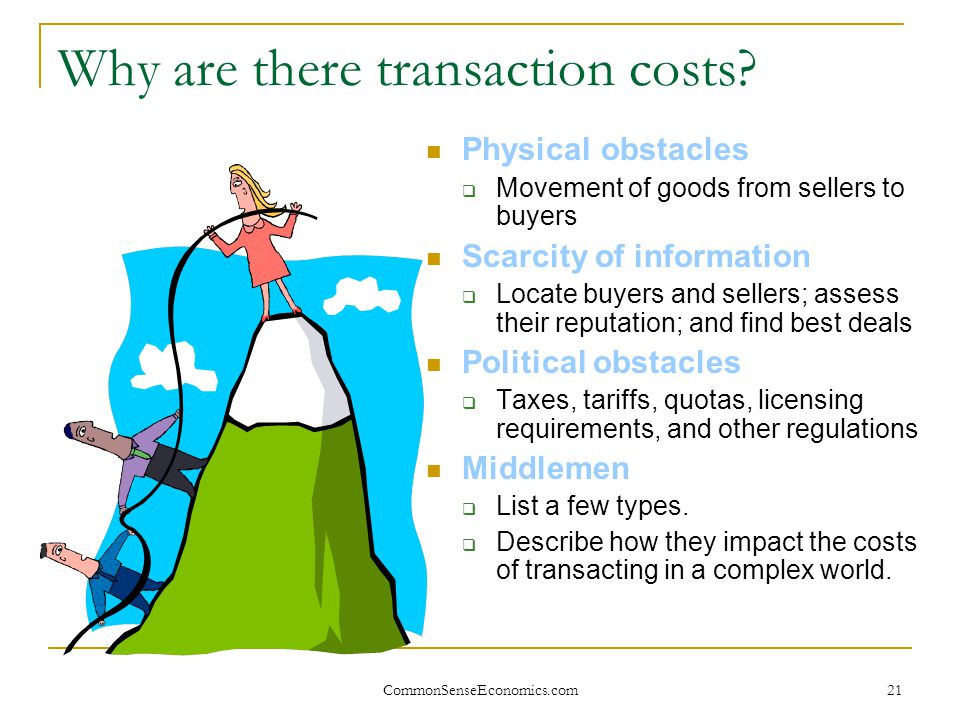 CommonSenseEconomics.com 21 Why are there transaction costs? Physical obstacles  Movement of goods from sellers to buyers Scarcity of information  L