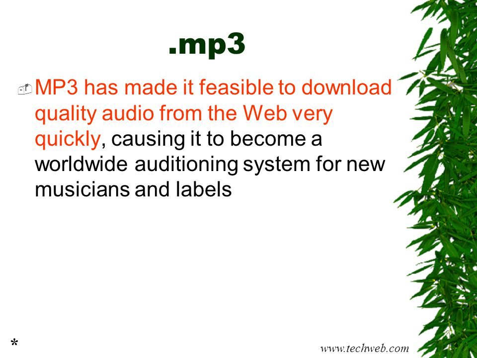 .mp3  MP3 has made it feasible to download quality audio from the Web very quickly, causing it to become a worldwide auditioning system for new music
