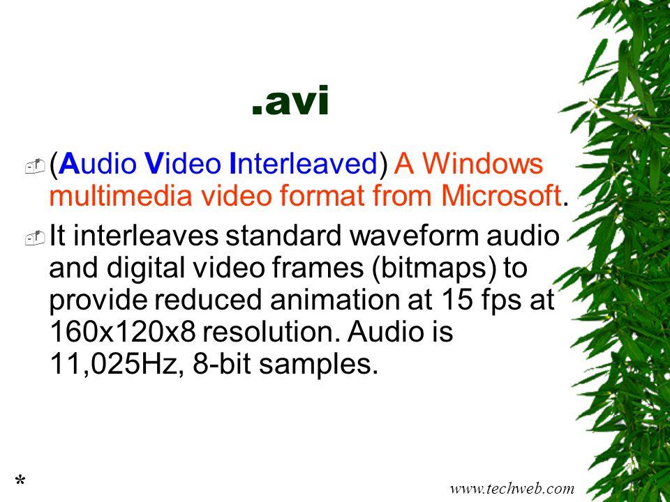 .avi  (Audio Video Interleaved) A Windows multimedia video format from Microsoft.  It interleaves standard waveform audio and digital video frames (