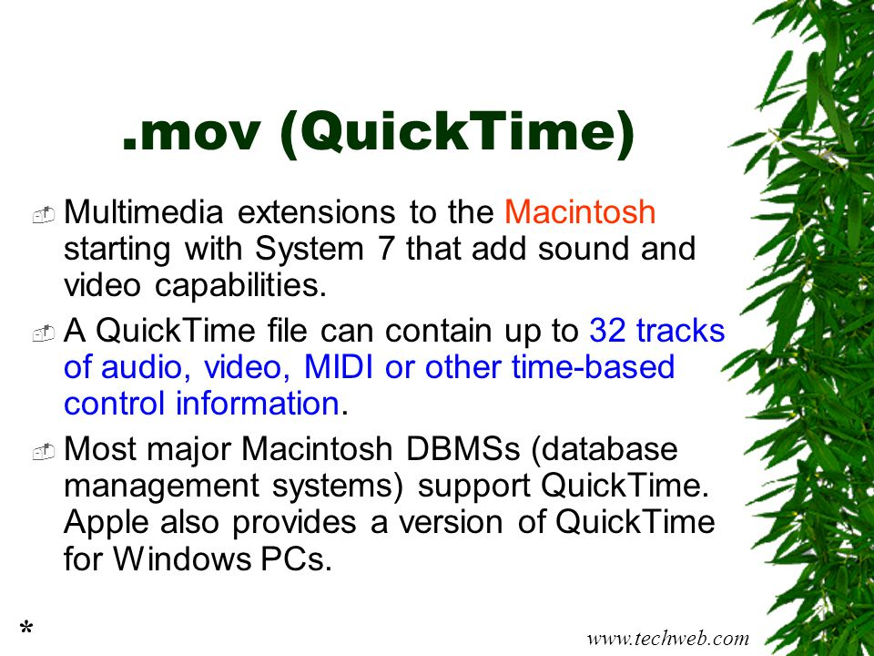 .mov (QuickTime)  Multimedia extensions to the Macintosh starting with System 7 that add sound and video capabilities.  A QuickTime file can contain