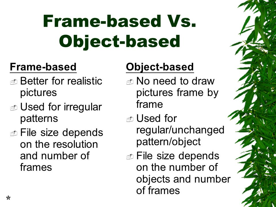 Frame-based Vs. Object-based Frame-based  Better for realistic pictures  Used for irregular patterns  File size depends on the resolution and numbe