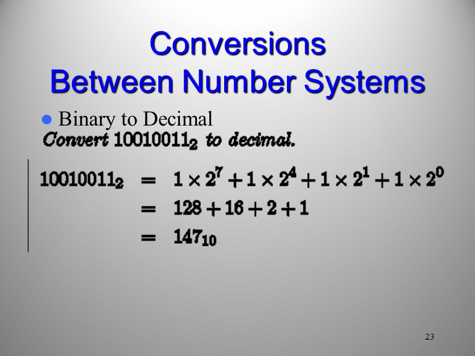 23 Binary to Decimal Conversions Between Number Systems