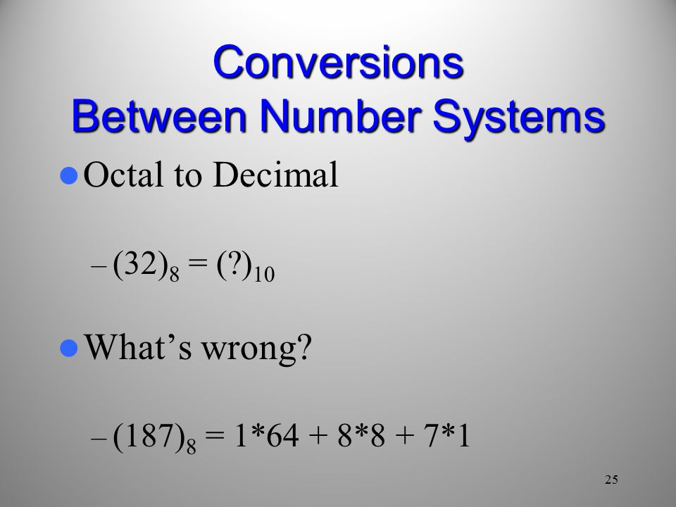 25 Conversions Between Number Systems Octal to Decimal – (32) 8 = ( ) 10 What's wrong.