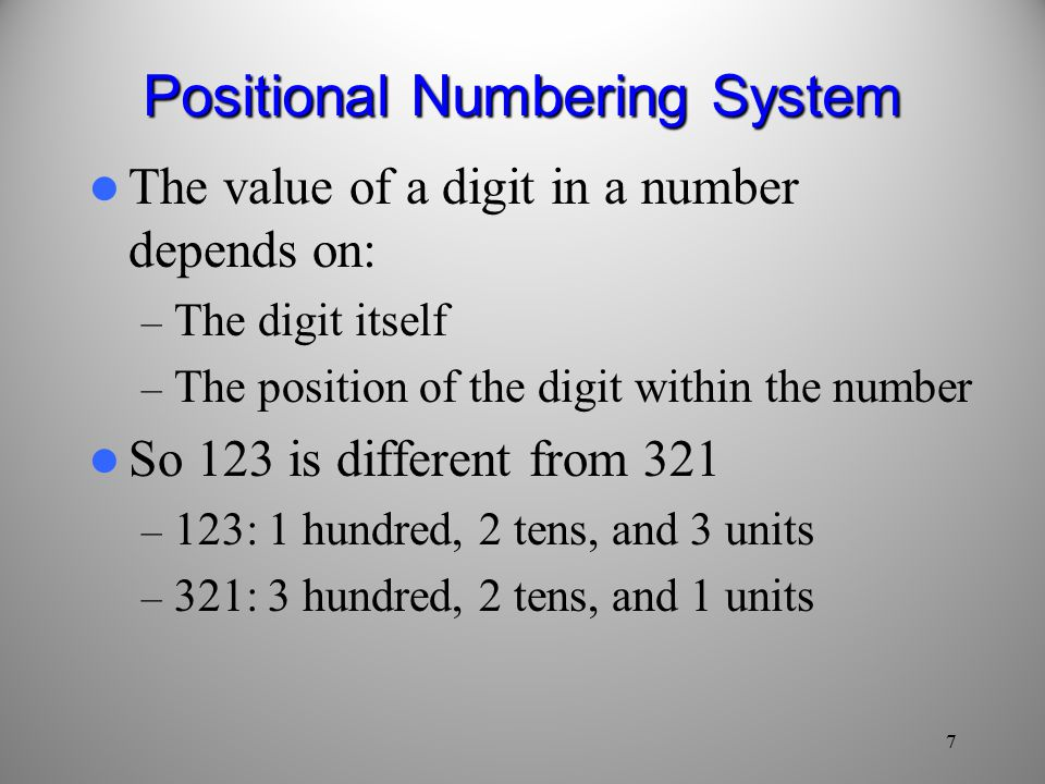7 Positional Numbering System The value of a digit in a number depends on: – The digit itself – The position of the digit within the number So 123 is different from 321 – 123: 1 hundred, 2 tens, and 3 units – 321: 3 hundred, 2 tens, and 1 units