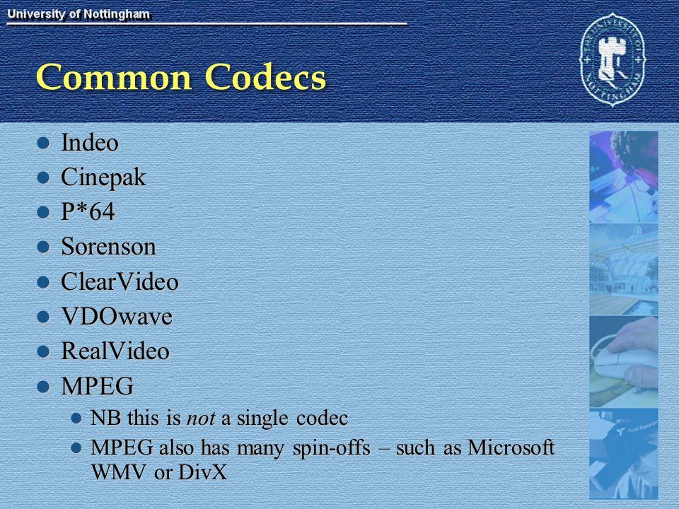 Common Codecs Indeo Indeo Cinepak Cinepak P*64 P*64 Sorenson Sorenson ClearVideo ClearVideo VDOwave VDOwave RealVideo RealVideo MPEG MPEG NB this is n