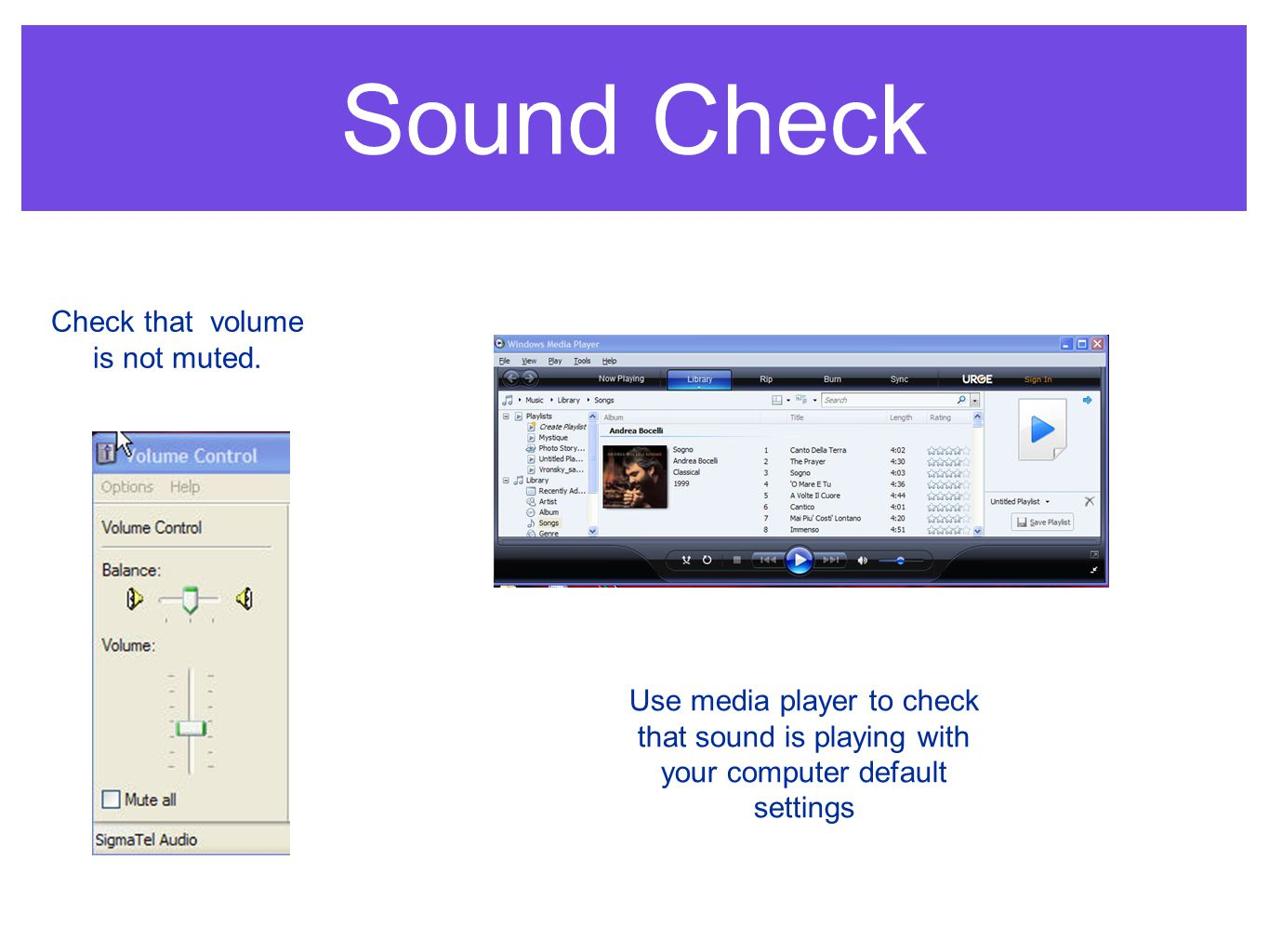 Sound Check Check that volume is not muted.