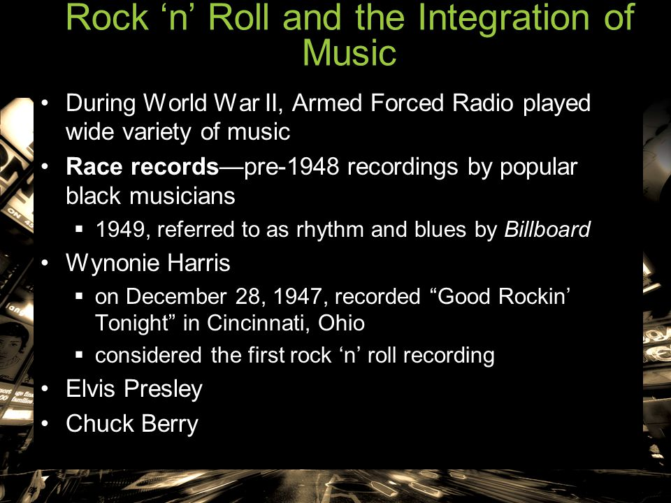 Rock 'n' Roll and the Integration of Music During World War II, Armed Forced Radio played wide variety of music Race records—pre-1948 recordings by po