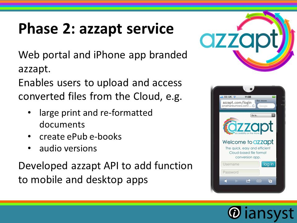 Web portal and iPhone app branded azzapt. Enables users to upload and access converted files from the Cloud, e.g. Developed azzapt API to add function