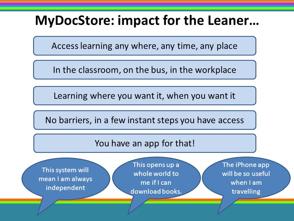 MyDocStore: impact for the Leaner… Access learning any where, any time, any place In the classroom, on the bus, in the workplace Learning where you want it, when you want it No barriers, in a few instant steps you have access You have an app for that.