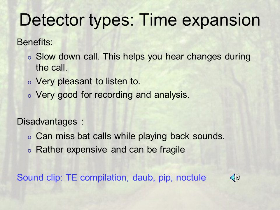 Detector types: Time expansion Benefits: o Slow down call.