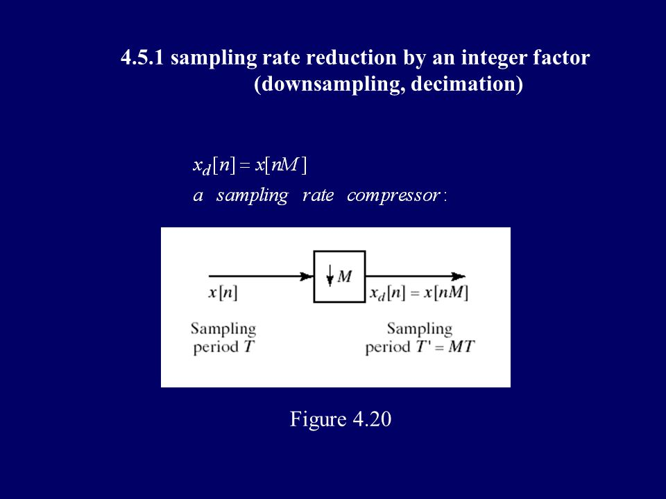 4.5 changing the sampling rate using discrete-time processing 4.5.1 sampling rate reduction by an integer factor (downsampling, decimation) 4.5.2 increasing the sampling rate by an integer factor (upsampling, interpolation) 4.5.3 changing the sampling rate by a noninteger fact 4.5.4 application of multirate signal processing