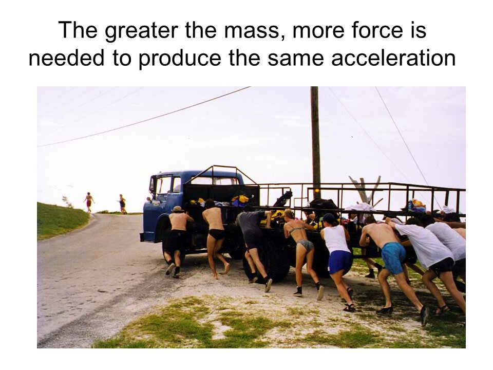 The greater the mass, more force is needed to produce the same acceleration