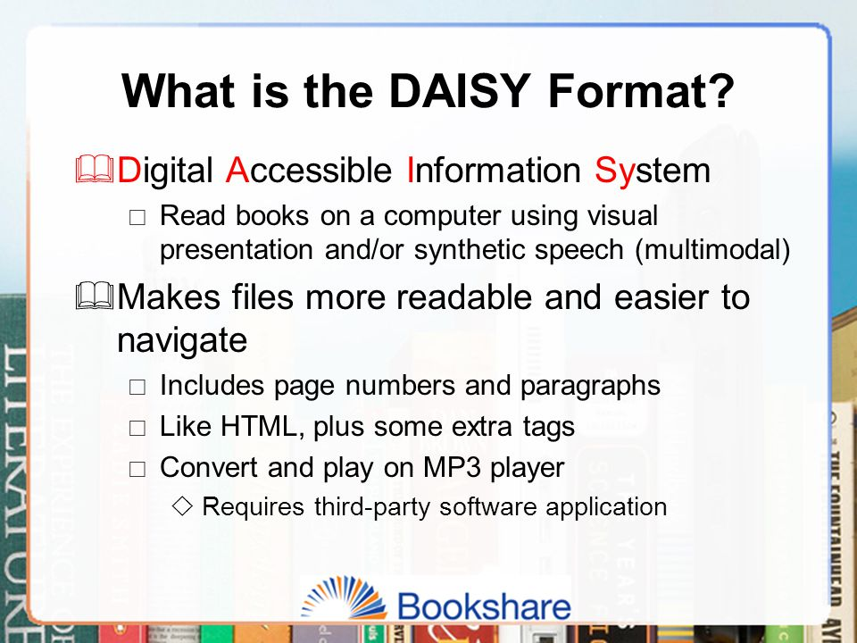 What is the DAISY Format.