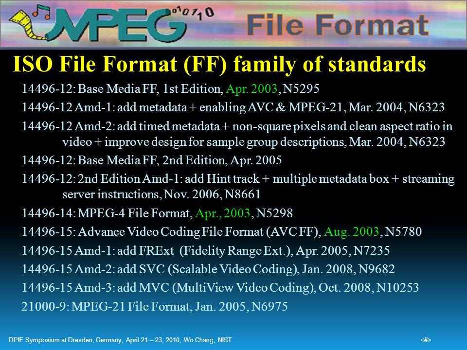 ISO File Format (FF) family of standards 14496-12: Base Media FF, 1st Edition, Apr. 2003, N5295 14496-12 Amd-1: add metadata + enabling AVC & MPEG-21,