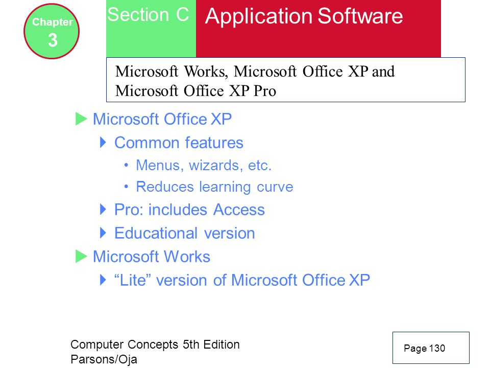Computer Concepts 5th Edition Parsons/Oja Page 130 Section C Chapter 3 Application Software Microsoft Works, Microsoft Office XP and Microsoft Office