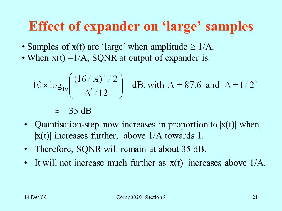 14 Dec'09Comp30291 Section 821 Effect of expander on 'large' samples  35 dB Quantisation-step now increases in proportion to |x(t)| when |x(t)| incre