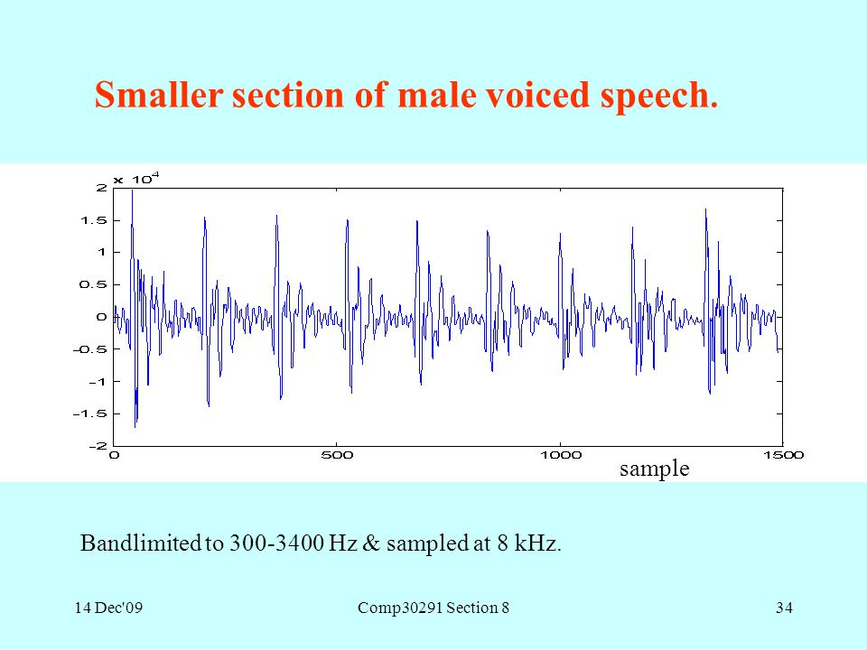14 Dec'09Comp30291 Section 834 Smaller section of male voiced speech. sample Bandlimited to 300-3400 Hz & sampled at 8 kHz.
