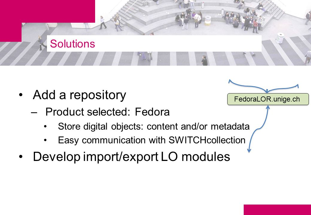 Solutions Add a repository –Product selected: Fedora Store digital objects: content and/or metadata Easy communication with SWITCHcollection Develop import/export LO modules FedoraLOR.unige.ch