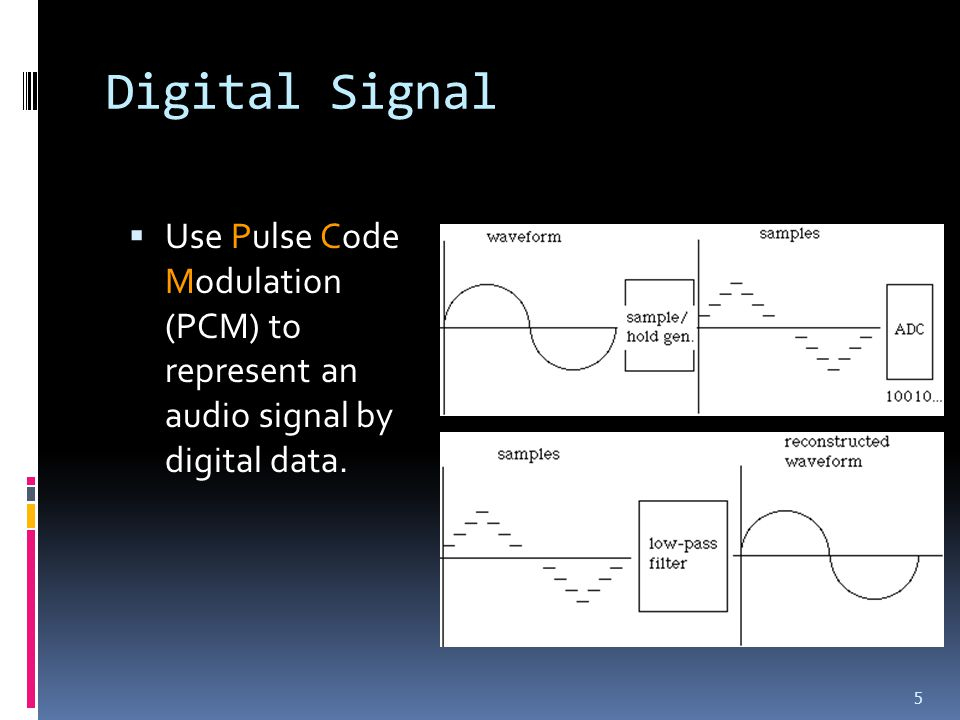 Digital Signal  Use Pulse Code Modulation (PCM) to represent an audio signal by digital data. 5