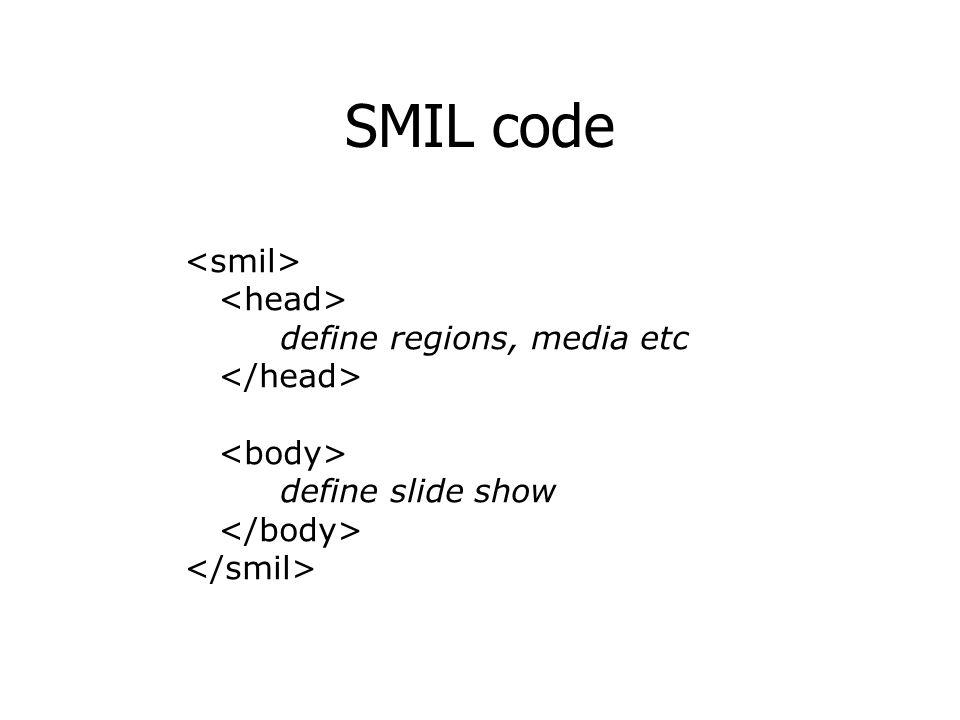 SMIL code define regions, media etc define slide show