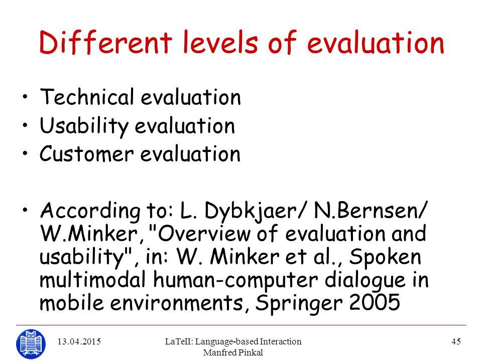 13.04.2015LaTeII: Language-based Interaction Manfred Pinkal 45 Different levels of evaluation Technical evaluation Usability evaluation Customer evalu