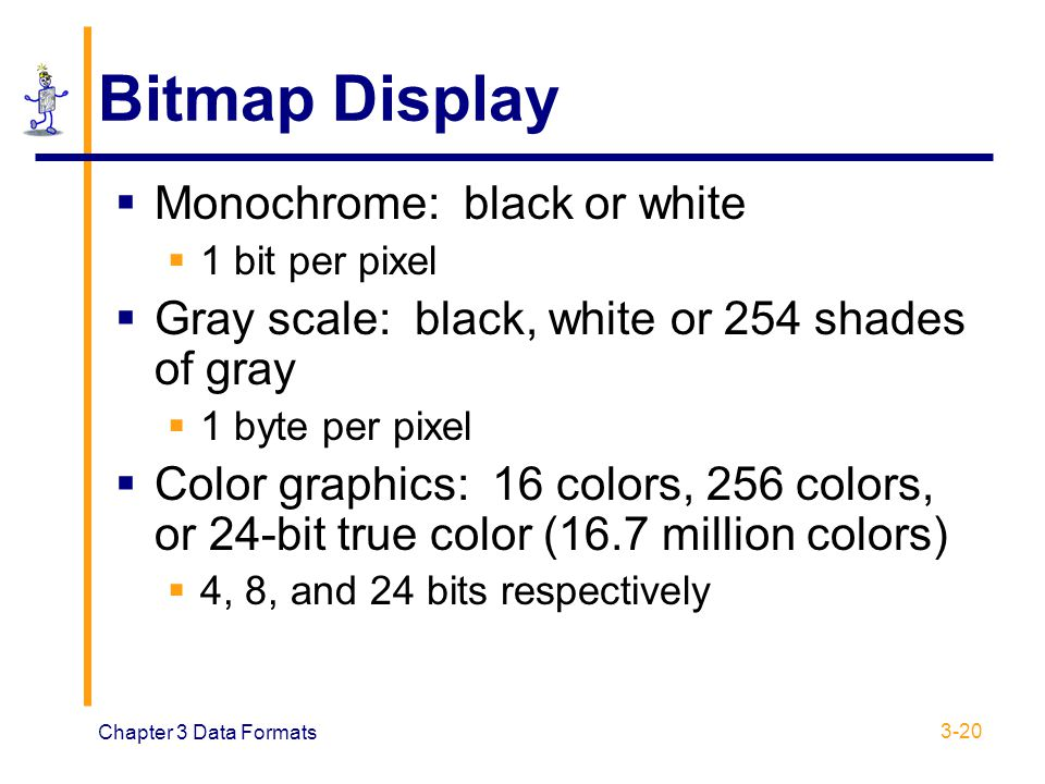 Chapter 3 Data Formats 3-20 Bitmap Display  Monochrome: black or white  1 bit per pixel  Gray scale: black, white or 254 shades of gray  1 byte pe