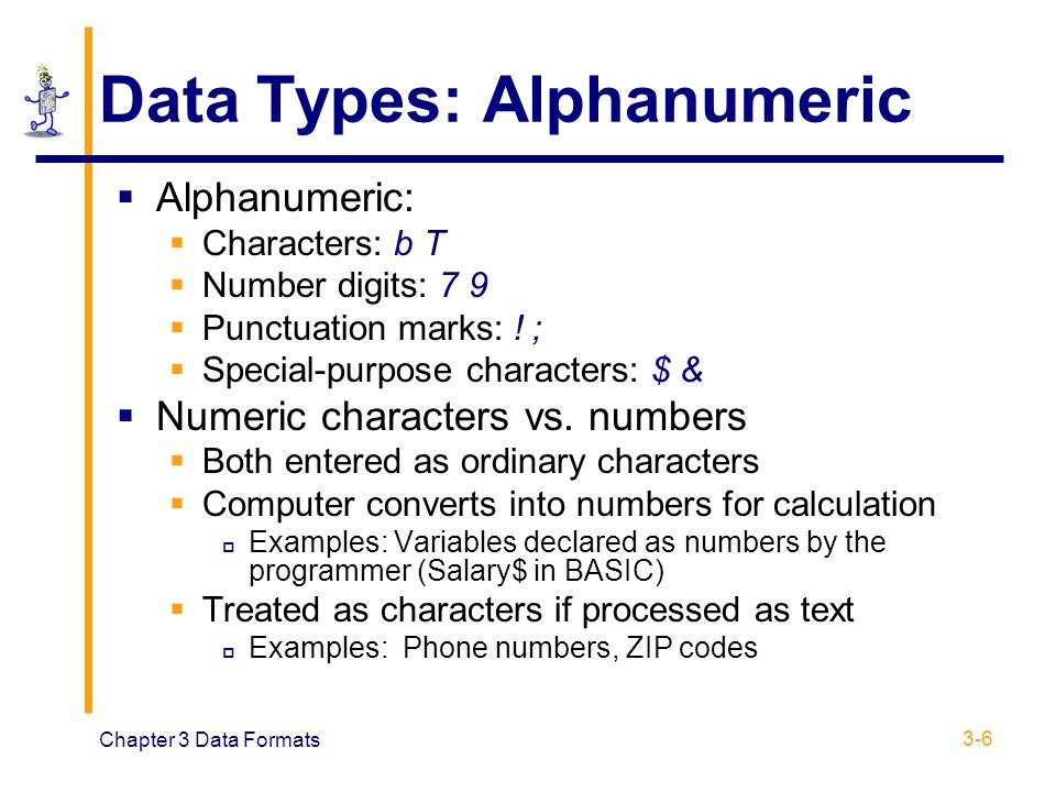 Chapter 3 Data Formats 3-6 Data Types: Alphanumeric  Alphanumeric:  Characters: b T  Number digits: 7 9  Punctuation marks: ! ;  Special-purpose