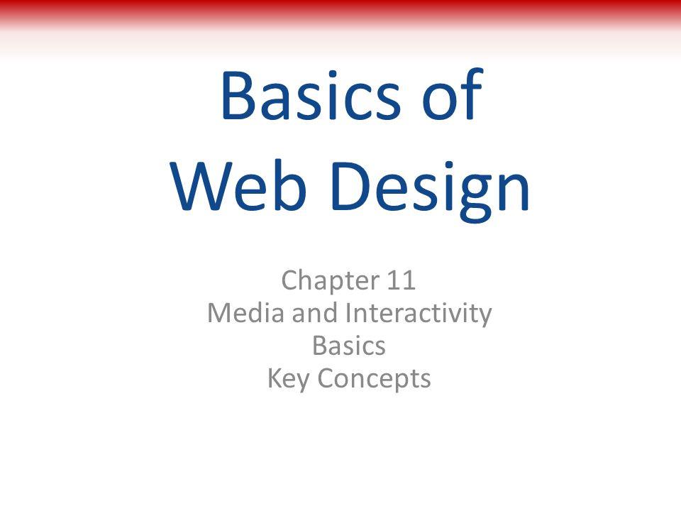 Basics of Web Design Chapter 11 Media and Interactivity Basics Key Concepts 1