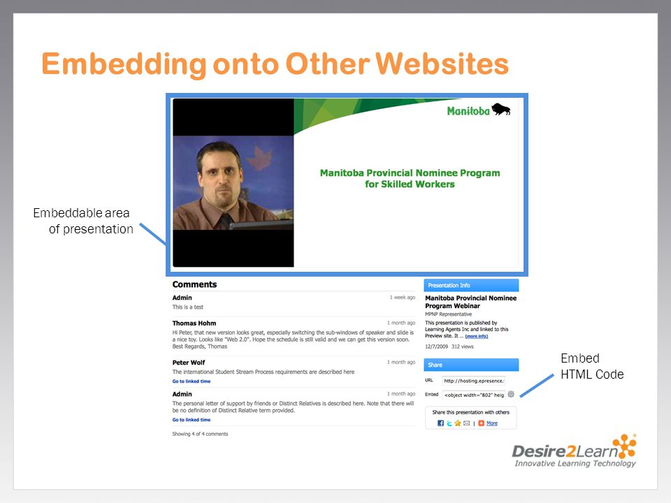 Subtitle www.Desire2Learn.com Embeddable area of presentation Embed HTML Code Embedding onto Other Websites