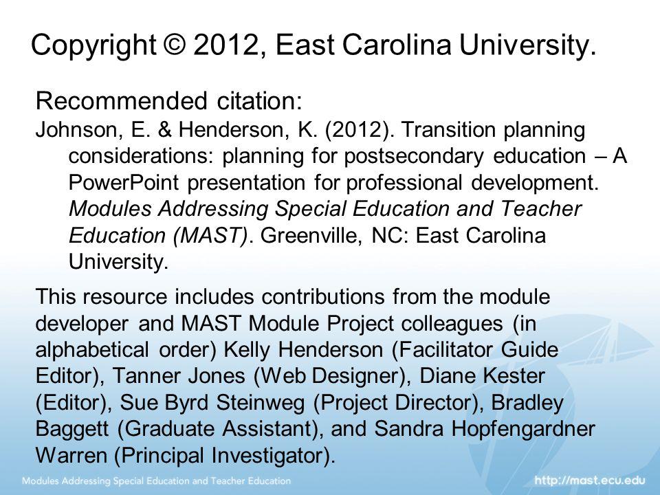 Copyright © 2012, East Carolina University. Recommended citation: Johnson, E.