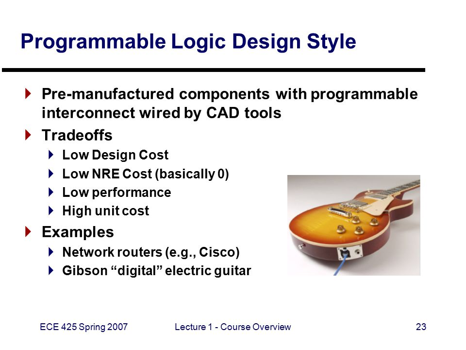 ECE 425 Spring 2007Lecture 1 - Course Overview23 Programmable Logic Design Style  Pre-manufactured components with programmable interconnect wired by CAD tools  Tradeoffs  Low Design Cost  Low NRE Cost (basically 0)  Low performance  High unit cost  Examples  Network routers (e.g., Cisco)  Gibson digital electric guitar