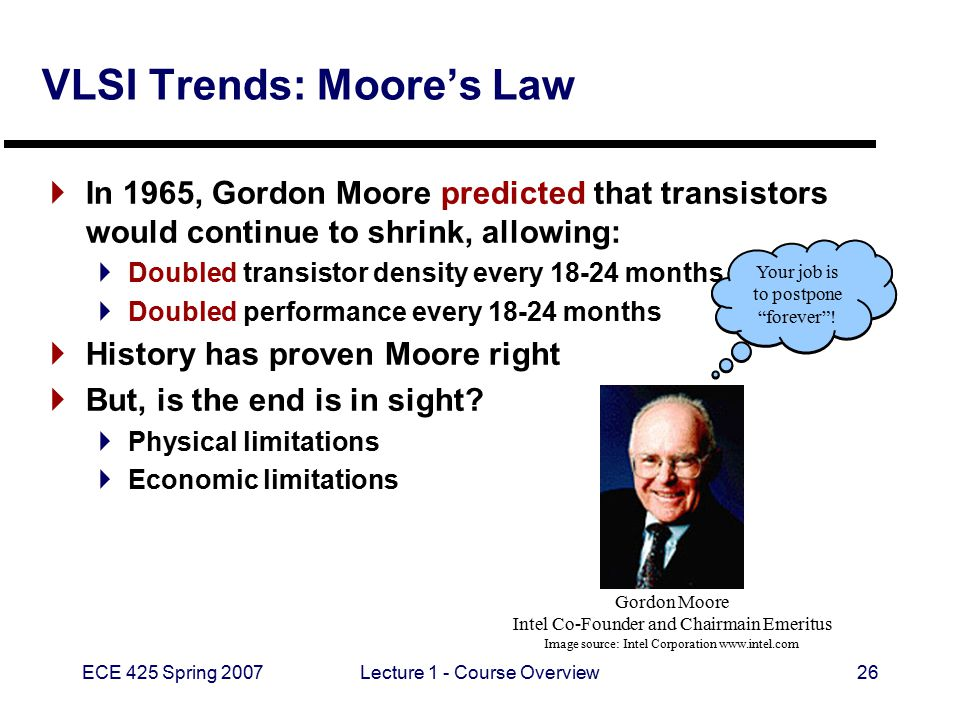 ECE 425 Spring 2007Lecture 1 - Course Overview26 VLSI Trends: Moore's Law  In 1965, Gordon Moore predicted that transistors would continue to shrink, allowing:  Doubled transistor density every 18-24 months  Doubled performance every 18-24 months  History has proven Moore right  But, is the end is in sight.