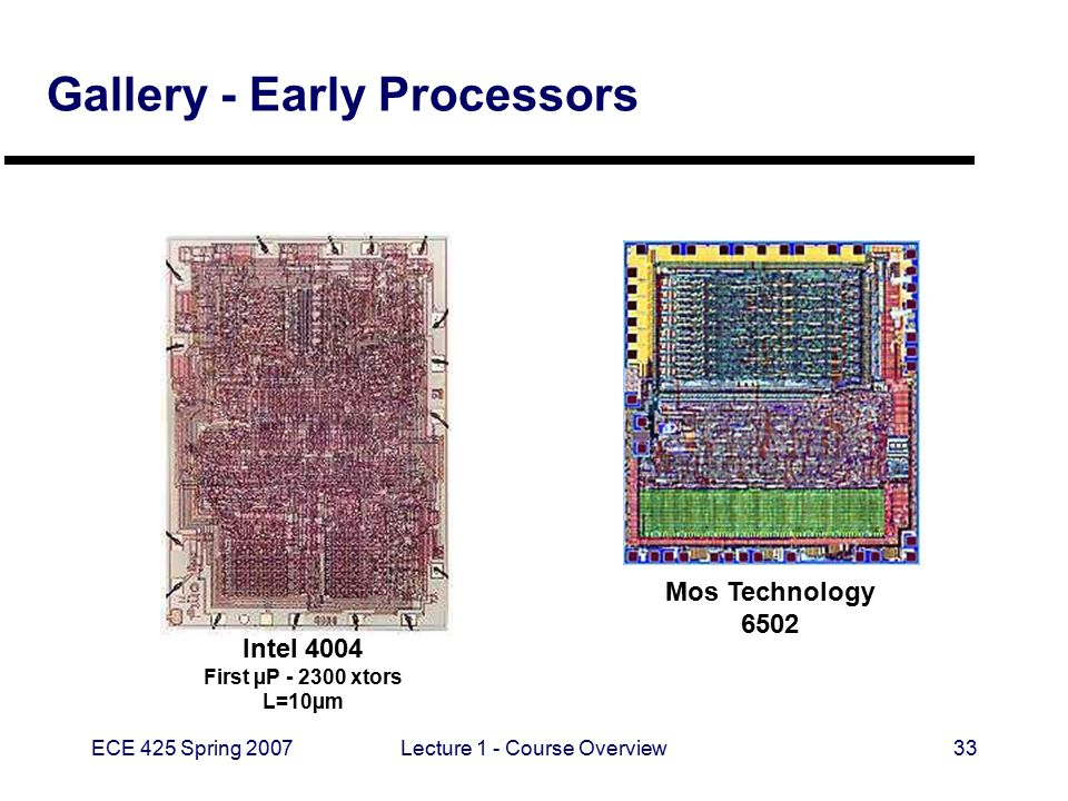 ECE 425 Spring 2007Lecture 1 - Course Overview33 Gallery - Early Processors Mos Technology 6502 Intel 4004 First µP - 2300 xtors L=10µm